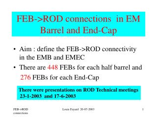 FEB->ROD connections  in EM  Barrel and End-Cap