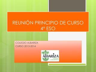 REUNIÓN PRINCIPIO DE CURSO 4º ESO