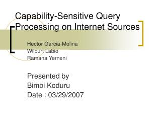 Capability-Sensitive Query Processing on Internet Sources