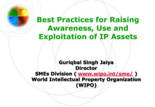 Best Practices for Raising Awareness, Use and Exploitation of IP Assets
