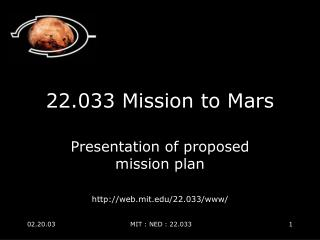 22.033 Mission to Mars