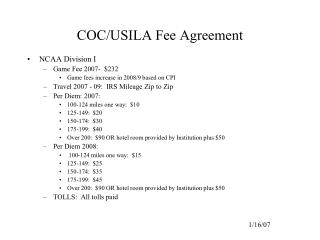 COC/USILA Fee Agreement