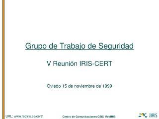 Grupo de Trabajo de Seguridad V Reuni�n IRIS-CERT Oviedo 15 de noviembre de 1999
