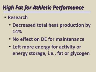 High Fat for Athletic Performance
