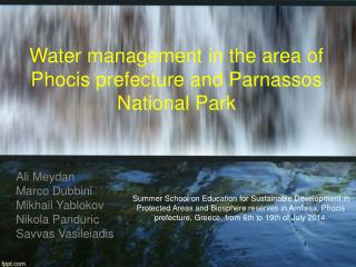 Water management in the area of Phocis prefecture and Parnassos National Park