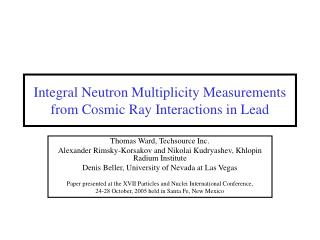 Integral Neutron Multiplicity Measurements from Cosmic Ray Interactions in Lead