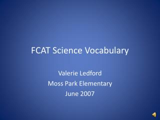 FCAT Science Vocabulary
