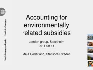 Accounting for environmentally related subsidies