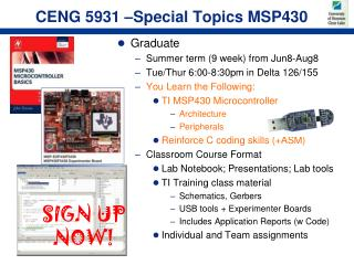 CENG 5931 –Special Topics MSP430