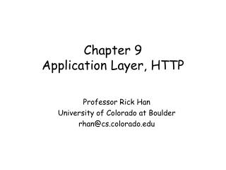 Chapter 9 Application Layer, HTTP