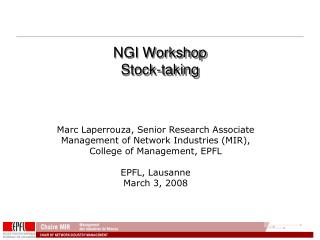 NGI Workshop Stock-taking