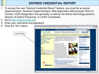 EXPIRED CREDENTIAL REPORT