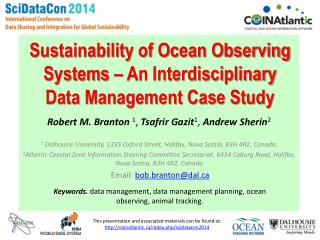 Sustainability of Ocean Observing Systems – An Interdisciplinary Data Management Case Study