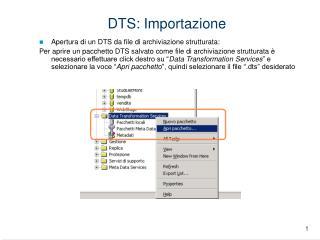 DTS: Importazione