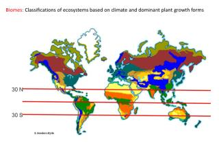 Biomes:  Classifications of ecosystems based on climate and dominant plant growth forms