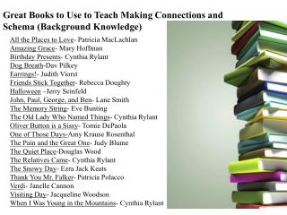 Great Books to Use to Teach Making Connections and Schema (Background Knowledge)