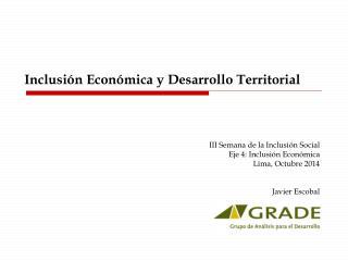 Inclusión Económica y Desarrollo Territorial