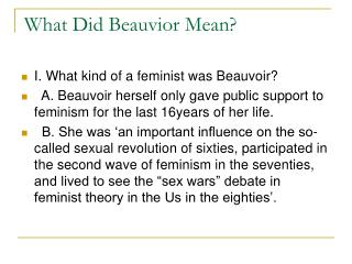 What Did Beauvior Mean?