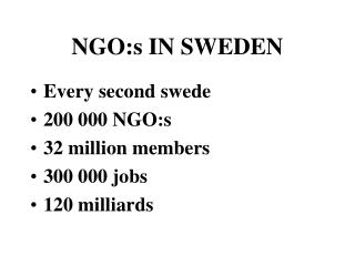 NGO:s IN SWEDEN