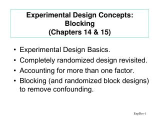 Experimental Design Concepts: Blocking Chapters 14  15
