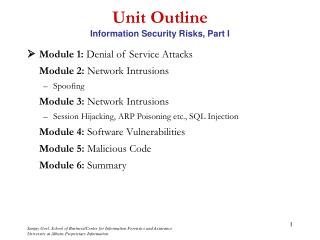 Unit Outline Information Security Risks, Part I