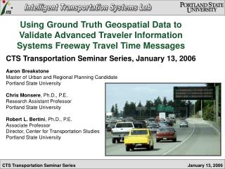 CTS Transportation Seminar Series, January 13, 2006 Aaron Breakstone