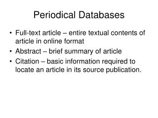 Periodical Databases