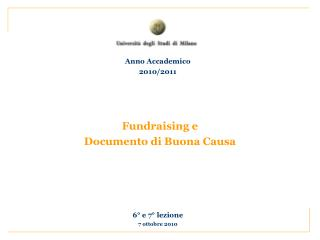 Fundraising e Documento di Buona Causa
