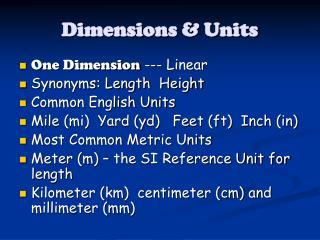 Dimensions & Units