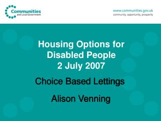 Housing Options for Disabled People 2 July 2007