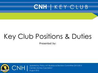 Key Club Positions & Duties
