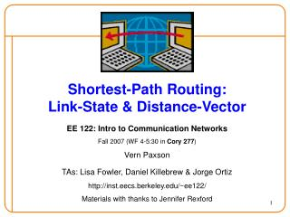 Shortest-Path Routing: Link-State & Distance-Vector