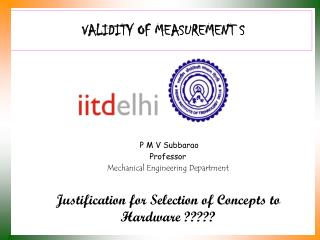 VALIDITY OF MEASUREMENT S