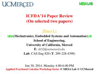 ICFDA'14 Paper  Review (On selected two papers)