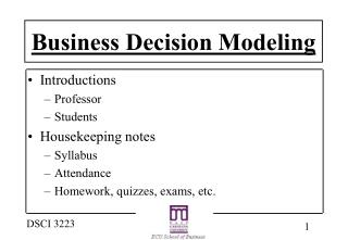 Business Decision Modeling