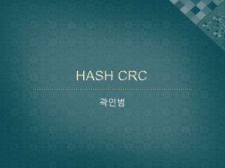 HASH CRC