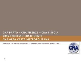 CNA PRATO – CNA FIRENZE – CNA PISTOIA 2015 Processo  CostituENTE CNA AREA VASTA METROPOLITANA