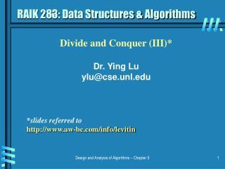 RAIK 283: Data Structures  Algorithms