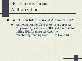 JPL Interdivisional Authorizations