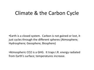 Climate & the Carbon Cycle