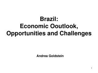 Brazil:  Economic Ooutlook, Opportunities and Challenges