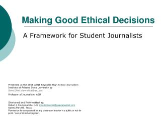 Making Good Ethical Decisions
