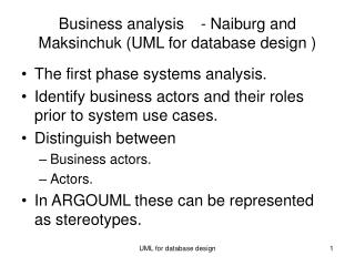 Business analysis - Naiburg and Maksinchuk UML for database design