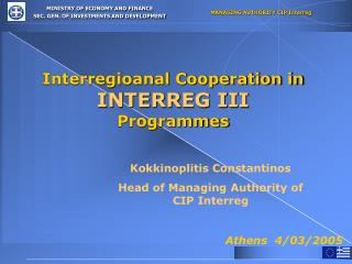 Interregioanal Cooperation in INTERREG III Programmes