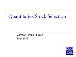 Quantitative Stock Selection