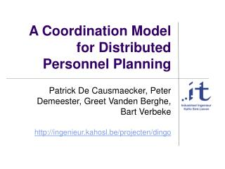A Coordination Model for Distributed Personnel Planning
