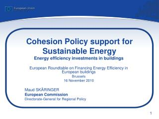 Cohesion Policy support for Sustainable Energy