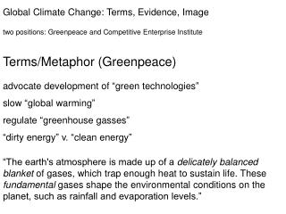 Global Climate Change: Terms, Evidence, Image