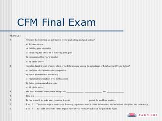 CFM Final Exam