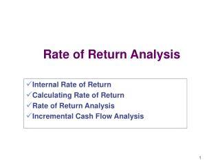 Rate of Return Analysis